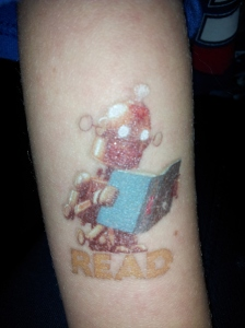 Ben's super cool READ robot tattoo.