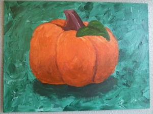 We painted a pumpkin on Saturday. This is my effort...what do you think?