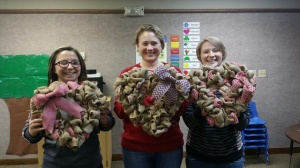 My brother's girlfriend, Miranda, myself, and my sister with our burlap wreaths. So Fun!